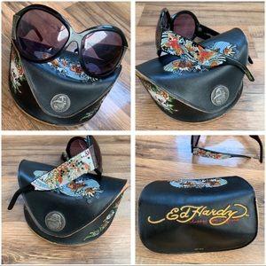 Ed Hardy Vintage Koi Sunglasses and Case